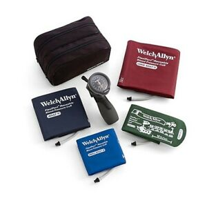 Welch Allyn Durashock Ds66 Trigger Aneroid Sphygmomanometer 4 Cuff Kit Case