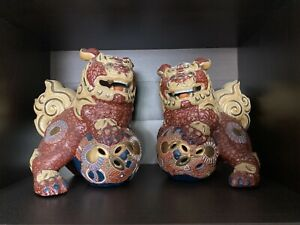 Antique Vintage Porcelain Pair Of Japanese Foo Dog Lion Genuine Kutani Gold Seal