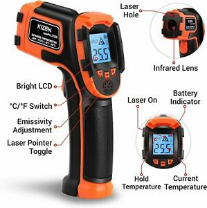 Kizen Digital Ir Laser Infrared Thermometer Gun Non Contact Temperature Meter