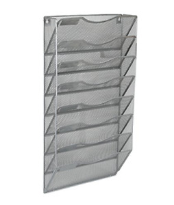 Office 8 Pocket Wall File Holder Organizer Hanging Magazine Rack Silver Durable