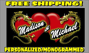 Personalized Monogrammed Custom License Plate Auto Car Tag Hearts Dragons