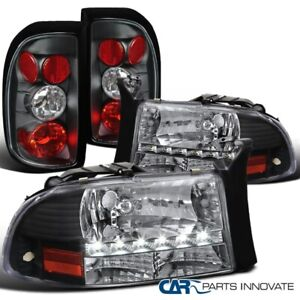 For 97 04 Dodge Dakota Black Crystal Smd Led Headlights altezza Tail Lamps Light