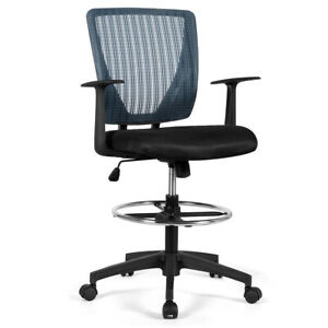 Mesh Drafting Chair Mid Back Office Chair Adjustable Height With Footrest Ring