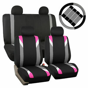 Car Seat Cover Set For Auto Sporty Pink W 4head Rests steering Cover belt Pads