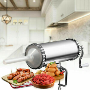 3 L Sausage Stuffer Maker Meat Filler Machine Home Kitchen Tool Horizontal Steel