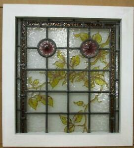 Victorian English Leaded Stained Glass Window Hand Painted Vines 18 75 X 20 5