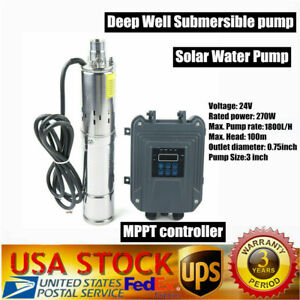 3 24v 270w Dc Deep Well Solar Water Pump Submersible Max head 100m 328ft mppt
