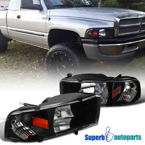 For 1994 2001 Dodge Ram 1500 94 02 2500 3500 1pc Headlights Black Lamps Pair