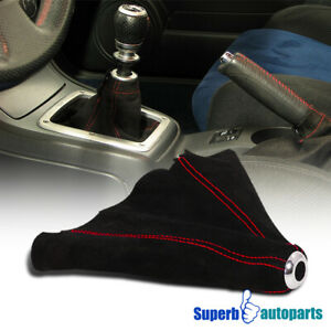 For Civic Integra 5 Sp Suede Leather Manual Shift Boot Cover W Red Stitch Trim