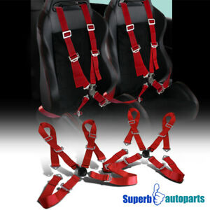 2 X Red 4 Point Camlock Racing Seat Belt Safety Harness