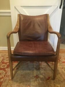 Mid Century Danish Modern Flaired Arm Lounge Chair Aged Leather