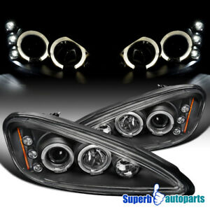 For 1999 2005 Pontiac Grand Am Led Halo Projector Headlights Black