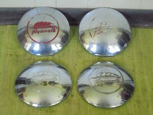 41 42 Plymouth Dog Dish Hubcaps 10 Set Of 4 Hub Caps 1941 1942 Mopar