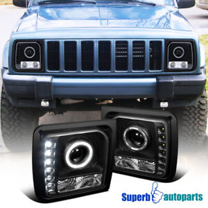 For 1997 2001 Jeep Cherokee Halo Projector Head Lights Lamps W Smd Led Black