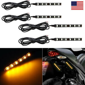4x 6 Led Motorcycle Turn Signals Flexible Strip Blinkers Amber Flush Tail Light