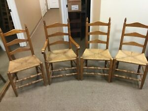 Set Of 4 Antique Vintage Ladder Back Rush Bottom Seat Farmhouse Chairs