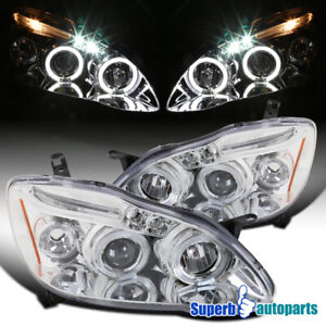 For 2003 2008 Toyota Corolla Led Halo Projector Headlights Lamps Replacement