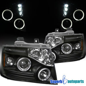 For 2007 2013 Chevy Tahoe Suburban Avalanche Led Halo Projector Headlights Black
