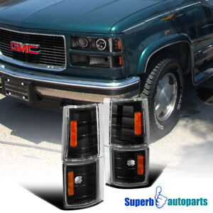 For 1994 1998 Gmc C10 Pickup Truck Corner Lights 4pc Black Replacement