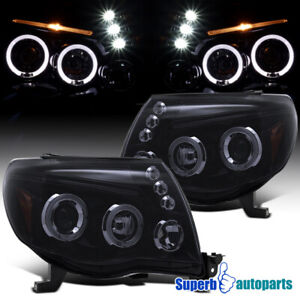 Black Smoke For 2005 2011 Toyota Tacoma Led Halo Projector Headlights Lamps Pair