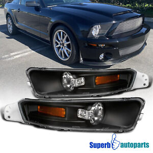 For 2005 2009 Ford Mustang Gt V6 Black Corner Signal Bumper Lights Parking Lamps