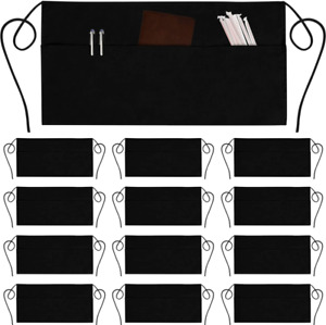12 Pack Server Aprons With 3 Pockets Waist Apron Waiter Waitress Apron Water