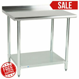 30 X 36 Stainless Steel Work Prep Table Undershelf Restaurant Backsplash Nsf