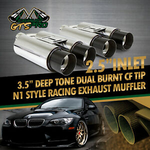 For Bimmer 2x Na N1 2 5 Deep Tone Race Chrome Exhaust Mufflers Carbon Dual Tips