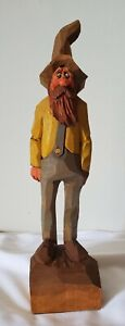 Vintage Rauch Signed Hand Carved Wooden Country Hillbilly Man Figurine