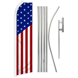 Classic Usa Swooper Flutter Feather Advertising Flag Pole Kit Patriotic Usa Flag
