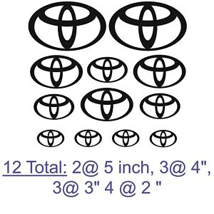 Mega Pack Of Toyota Logo Emblems Decals 12 Total Stickers 2 5 3 4 3 3 4 2