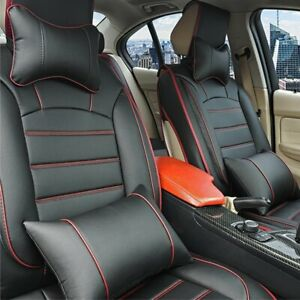 5 Seats Front Rear Universal Car Seat Cover Full Cushion Pu Leather W Pillow Bk