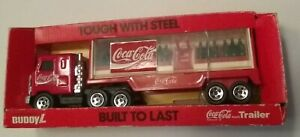 Vintage 1989 Buddy L Coca-Cola Trailer Delivery Mack Truck With Original Box, In