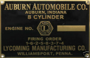 Auburn Automobile Lycoming 8 Engine Data Plate 1935 851 1936 852 Speedster Cord