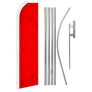 Solid Red Swooper Flutter Feather Advertising Flag Pole Kit Solid Color Flag
