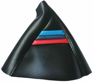 Black W M Style Stripes Real Leather Manual Shift Boot For 99 06 Bmw E46