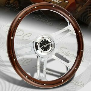 W power 350mm 14 Dark Wood Grip 6 hole Chrome 4 spoke Vintage Steering Wheel