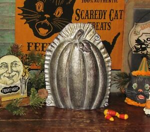 Primitive Antique Vtg Tin Style Halloween Lg Pumpkin Resin Chocolate Candy Mold