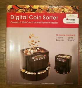 Cassida C200 Digital Coin Counter Sorter wrapper With Coin Tube Set Included