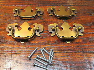 4 Brass Chippendale Style Drawer Pulls Handles 2 1 2 Center To Center Nos