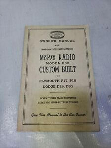 Vtg Owner s Manual Instructions Mopar Radio Model 803 Dodge Plymouth Chrysler