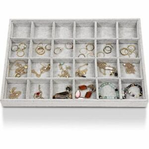 24 Grid Velvet Stackable Jewelry Display Trays Ring Earring Storage Organizer