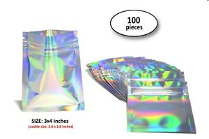 100 3x4 Holographic Rainbow Laser Double sided Small Mylar Foil Ziplock Bags