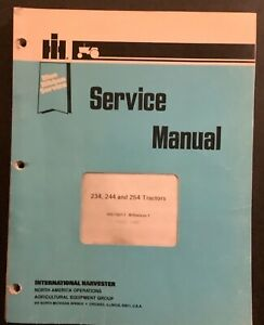 Ih International Blue Ribbon Service Manual Gss 1507 1 234 244 254 Tractors