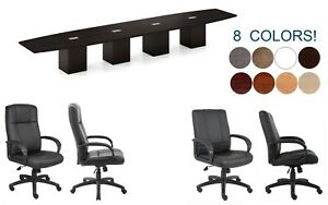 20 Ft Foot Conference Table And 18 Chairs Set With Grommets And Legs Have Doors