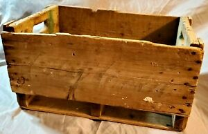 Vintage Coca Cola Wooden Crate 4 Dividers Rare Dawson Creek Beverages Green