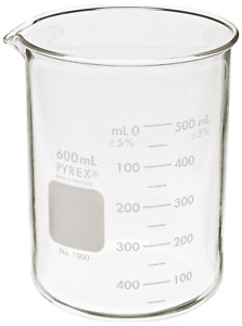 Corning Pyrex 1000 600 Glass 600ml Graduated Low Form Griffin Beaker 50ml