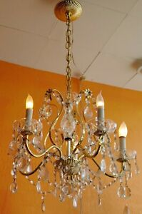 Vintage Gold Metal And Crystal Chandelier 5 Arms Lots Of Glass Crystals