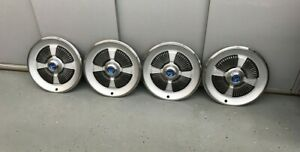 Vintage Set Of 4 1965 Ford Galaxie 500 Hubcaps 15 In Excellent Condition