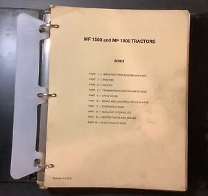 Massey Ferguson Mf 1500 1800 Tractors Service Manual 1448995m1 Used Original